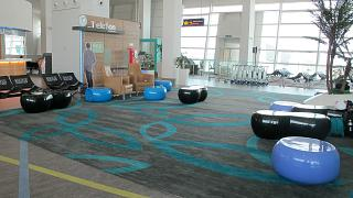Relaxation area in the low-cost terminal KLIA2 airport in Kuala Lumpur