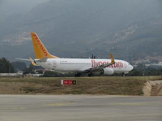 B737-800 Pegasus airlines at the airport to Gazipasa