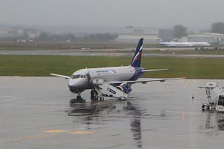 Sukhoi Superjet 100 of Aeroflot at the airport in Bucharest
