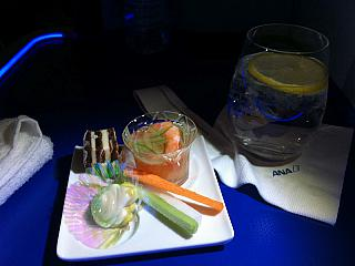 Food on the flight Tokyo-Frankfurt airlines All Nippon Airways