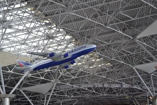 Inflatable airplane Boeing-747 of Transaero under the ceiling of terminal A of Vnukovo airport