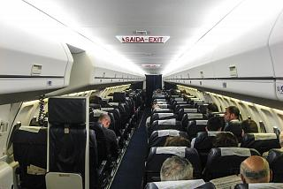 The interior of the Fokker 100 aircraft of the airline PGA
