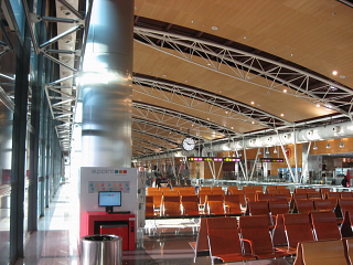 The departures area in terminal 1 of Madrid-Barajas airport