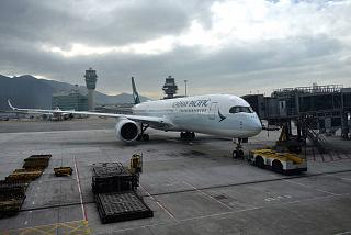 Airbus A350-900 Cathay Pacific before takeoff in Hong Kong airport