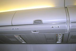 The Luggage shelf in the plane Boeing-737-800