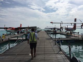 Pier for seaplane from male airport