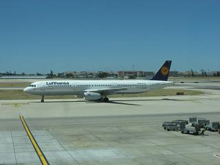 Airbus A321 Lufthansa at the airport in Lisbon