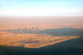 Hamad airport and Doha city