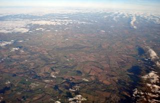 In flight over England
