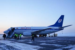 "Boeing-737-500 EW-250PA of the airline ""Belavia"" at the airport of Omsk"