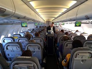 The cabin of the Airbus A319 Finnair