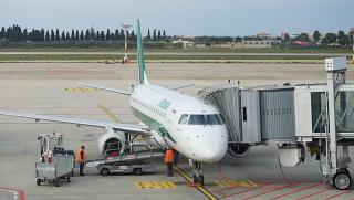 The Embraer 175 Alitalia airlines at the airport of Bari