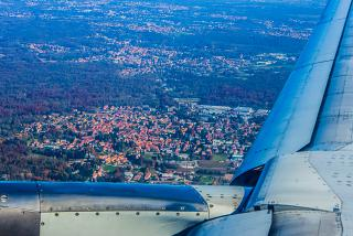 Views Milan after takeoff from Malpensa airport