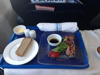 Питание бизнес-класса на рейсе авиакмпании Аэрофлот Москва-Екатеринбург