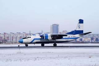 "Antonov an-24 RA-46682 of airline ""KrasAvia"" in the airport of Omsk"