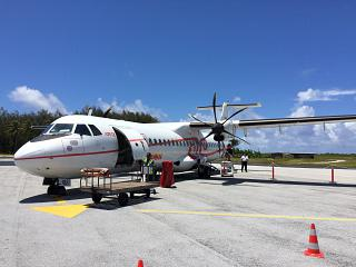 The ATR 72 operated by Air Tahiti at the airport in Bora Bora
