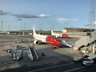 The Boeing-737-800 airline Norwegian at Oslo airport Gardermoen