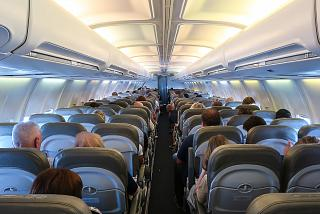 The passenger cabin of the aircraft Boeing-737-300 airline Bul Air