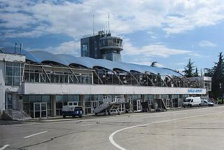 The view from the apron at the old terminal of the airport of Burgas