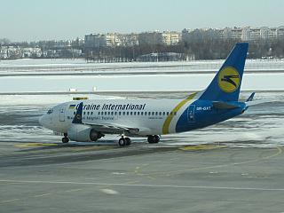 Boeing-737-500 UR-GAT Ukraine International airlines at the airport Kiev Borispol