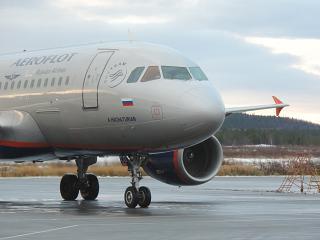 """Aircraft Airbus A319 Aeroflot """"A. Khachaturian"""" in Murmansk"""