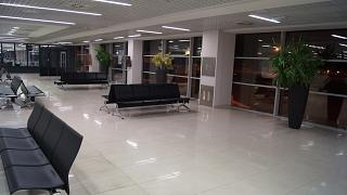 The waiting room in a clean zone of terminal 2 of Belgrade airport Nikola Tesla