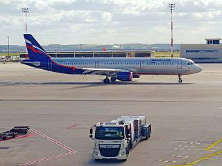 Airbus A321 of Aeroflot at the airport Paris Charles de Gaulle