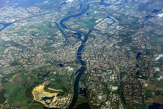 In flight over the city of Maastricht in the Netherlands