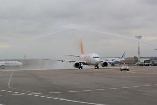 First flight Pegasus Airlines in airport Moscow Domodedovo