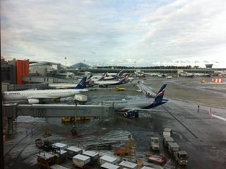 Вид на перрон терминалов D и E аэропорта Шереметьево