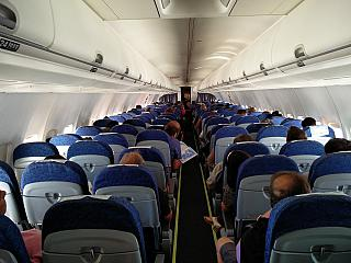 The cabin of the Boeing 737-700 of the Airlines of Argentina
