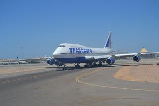 B747-400 Transaero at the airport in Hurghada