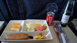 Food on the flight of Air France from Moscow to Lisbon