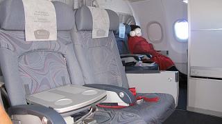 Салон бизнес-класса в самолете Airbus A319 Чешских авиалиний