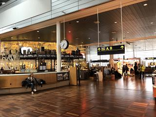 Cafe in the clean zone of terminal 2 of Copenhagen airport Kastrup