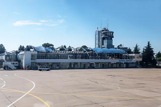 Old passenger terminal and ATC tower of Burgas airport