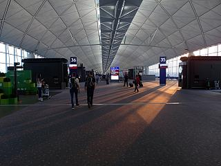 A long corridor to the departure gates at Hong Kong airport
