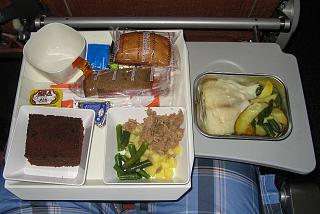 In-flight meals on the flight of Aeroflot Moscow-Havana