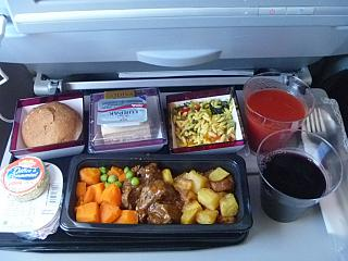 Flight meals on the flight, Qatar Airways Moscow Doha