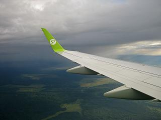 In flight on the Embraer 170 S7 Airlines