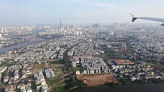 Views of Ho Chi Minh city before landing at the airport Tansonnhat