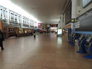 The departure area at the airport of Brussels