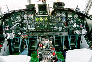 "The cockpit in the plane An-24 of airline ""KrasAvia"""