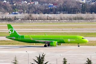 The Airbus A321neo S7 Airlines in the airport of Sochi