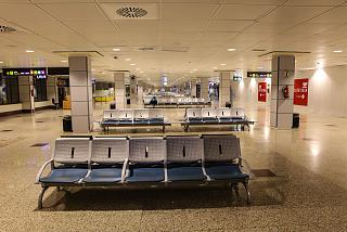 Waiting areas at departure gates in the airport's terminal T2 of Madrid Barajas