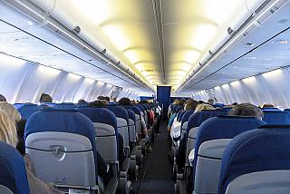 The cabin of the aircraft Boeing-737-800 KLM