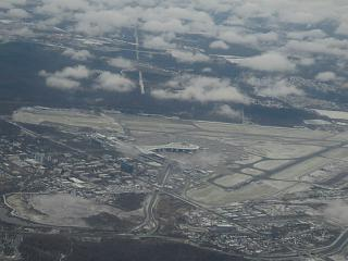 The view during takeoff at Moscow airport Vnukovo