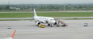 Airbus A320 Ural airlines at the airport of Vladivostok