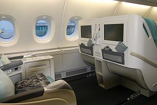 Business class in the Airbus A380 of Korean Air