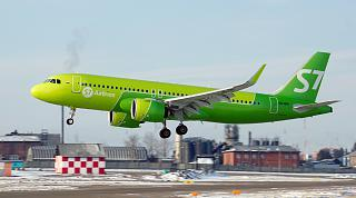 The Airbus A320neo VQ-BRI S7 Airlines sits at the airport of Irkutsk